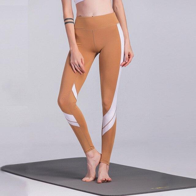 797746b327fae JIGERJOGER 2017 秋冬新ヌードキャメル色白メッシュヒットカラー yoga パンツ海軍ストレッチスポーツレギンス
