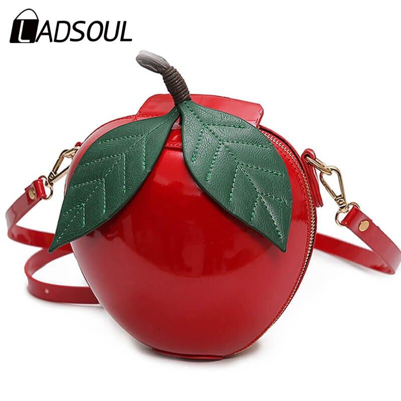 Ladsoul 2018 hit color apple bags women shoulder bag diagonal female package Crossbody Bags for teenage girls Leaves Mini Bags