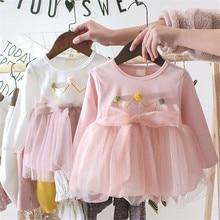 2019 Autumn Baby Girl Mesh Party Dress Infant Baby Gauze Crown Princess Dress Spring Long Sleeve Dress Clothes недорого