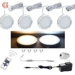 4 قطع لكل مجموعة من عكس الضوء 12 فولت 2.5 واط LED تحت إضاءة الخزانة جي اللاسلكية التحكم عن بعد مصباح ليد كري مضادة يقودها إضاءة الخزانة