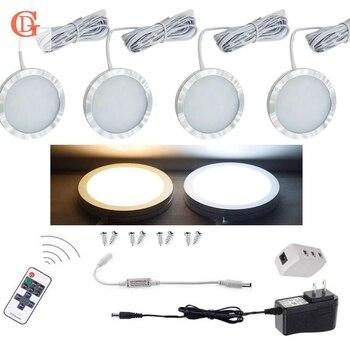 4 piezas por juego de luz LED de 12 V 2,5 W regulable bajo la iluminación del Gabinete Control remoto inalámbrico luz LED Puck encimera de luz LED para armario