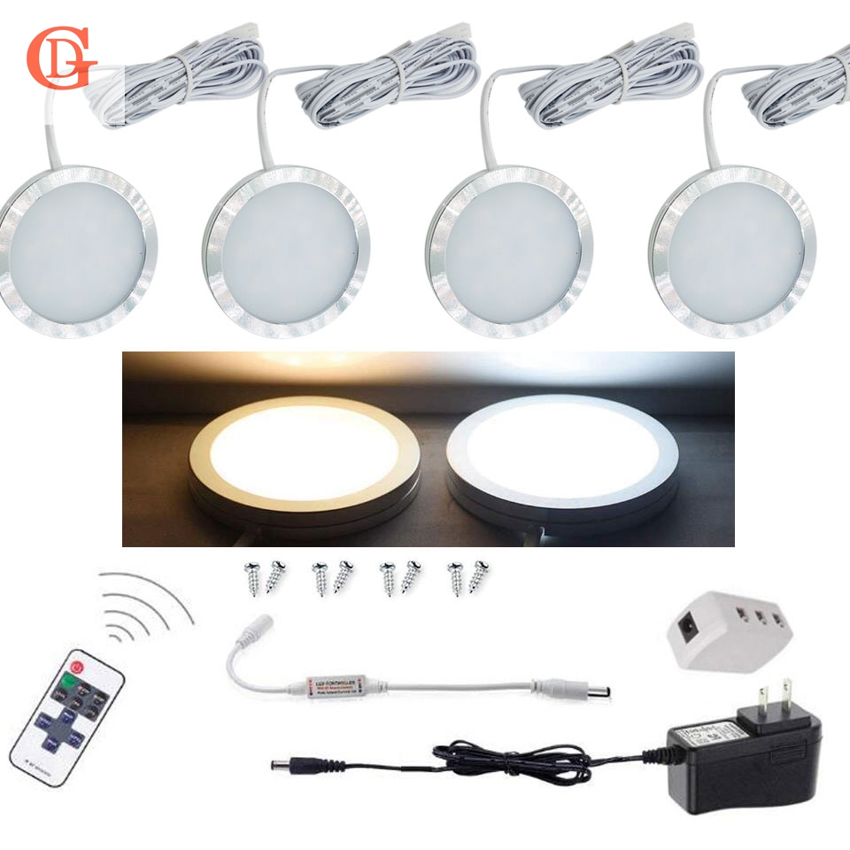 цена на 4pcs per set of Dimmable 12V 2.5W LED Under Cabinet Lighting Wireless Remote Control LED Puck Light Counter LED Cabinet light