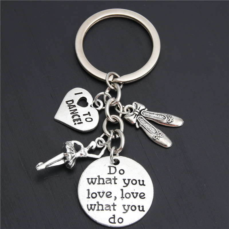1pc Do What You Love Charms I Love To Dance Key Chain Ballerina Keyring Ballet Gifts For Women Girl Dancer Jewelry E2035(China)