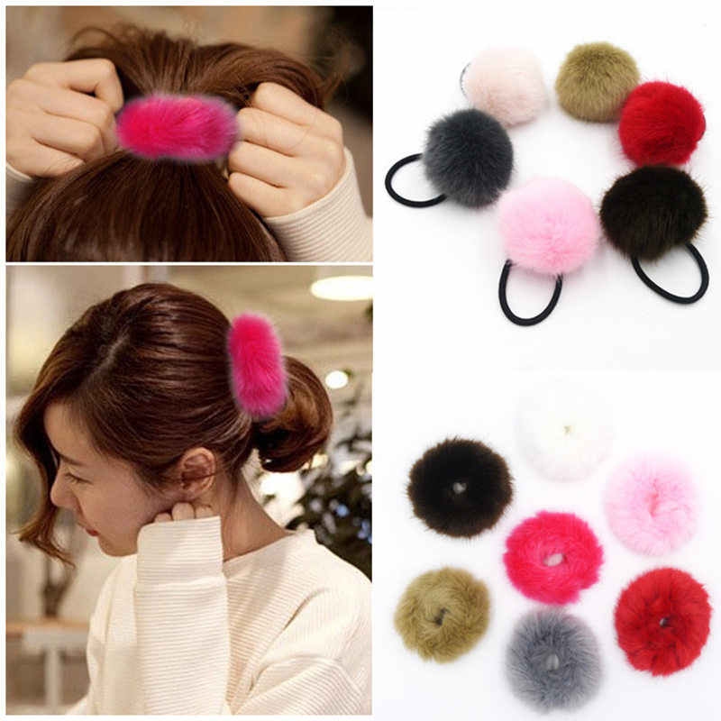 Hot Sale Elastic Hair Bands Artificial Rabbit Elastic Hair Ties Bands Ponytail Holders Girls Hairband Headwear Hair Accessories