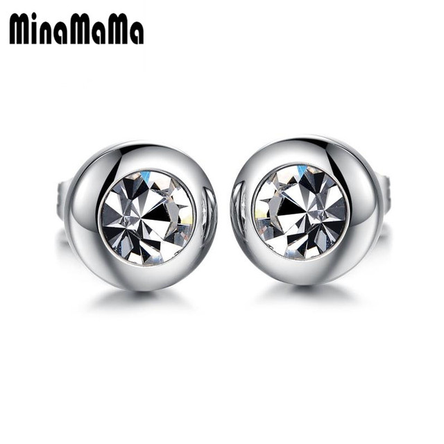 2pcs Hot 316l Surgical Stainless Steel Earring Round Clear Crystal Stud Earrings For Women Men Punk
