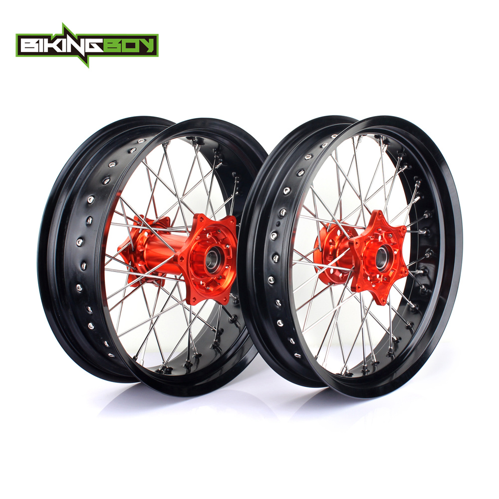 BIKINGBOY 17 Supermoto Front Rear Wheel Rim Hub For KTM SX 150 XC 300 SX F 250 350 450 XC F 250 450 15 16 SX 125 250 XC F 2015