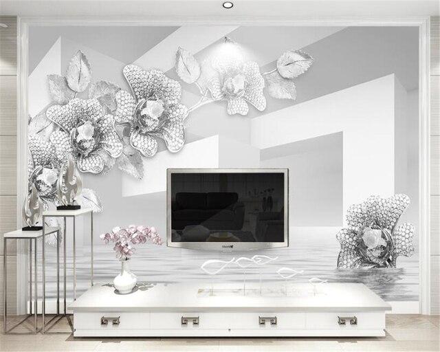 Beibehang Custom Tapete Einfache Und Elegante 3D Weiß Gold Schmuck Blumen  Wohnzimmer Schlafzimmer TV Hintergrund Wand