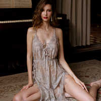 Sexy Lingerie Nightgowns Four Seasons Suspender V-neck Nightdress Ladies Sleepwear Sling Lace Sheer Cross Back Night Sleep Dress