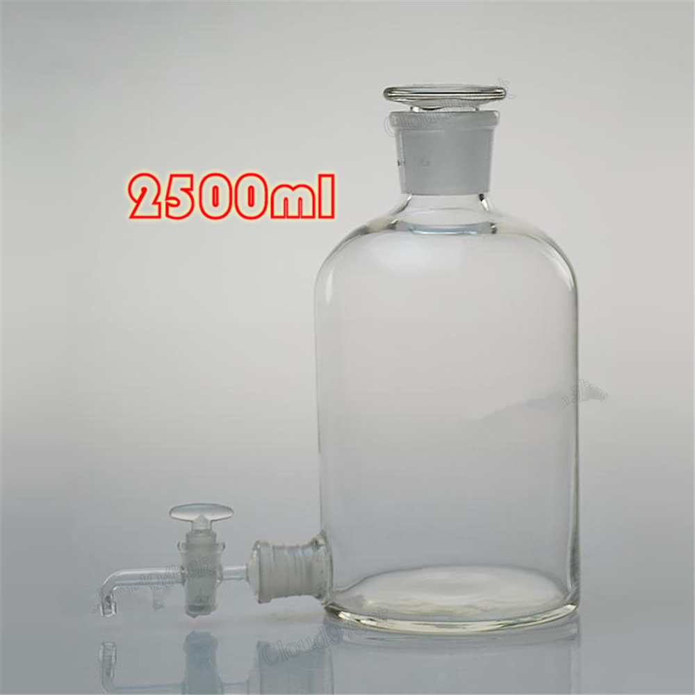 2500ml Clear Aspirator Bottle Glass with Ground-In Glass Rotary Stopper