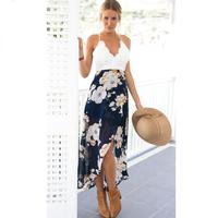 LZJ Summer Style Women S Lace Long Flower Printed Stitching Dress Sexy V Neck Lace Beach