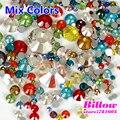 Misturar cores tamanhos mix prego strass facetas de cristal não hotfix strass de vidro flatback para o telefone diy decoração b0703