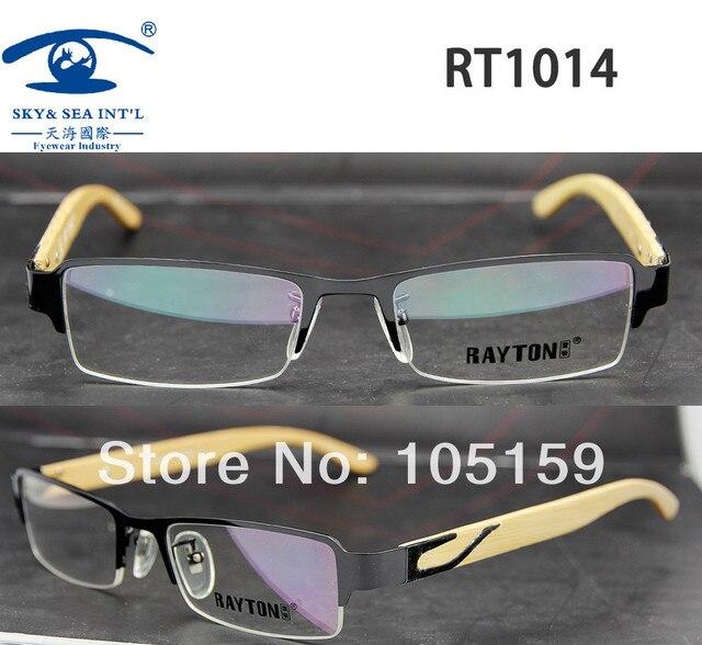 RAYTON Gents Mens New Style Bamboo Wooden Eyeglass Frames in Half Rim Frame