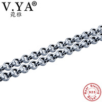 V YA 925 Sterling Silver 3 4 5MM Link Chain Necklace Men 18 24inch Chains Fit