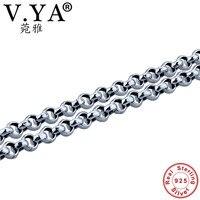 V. 925 Sterling Silver YA Bạc 3/4/5 MÉT Liên Kết Chuỗi Vòng Cổ Nam Giới 18-24 inch Chains fit Mặt Dây Tinh Khiết Thái Bạc Punk Đen Jewelry