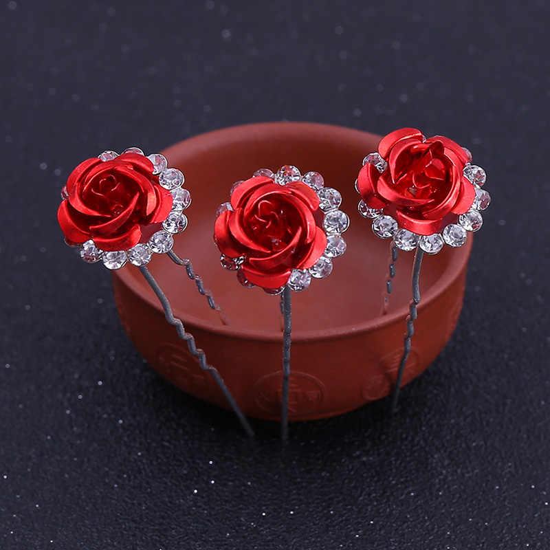 Seven Berbentuk U Jepit Rambut Aksesoris Rambut Pengantin Diamante Merah Bunga Kristal Wanita Pin Rambut Tongkat Fashion Perhiasan