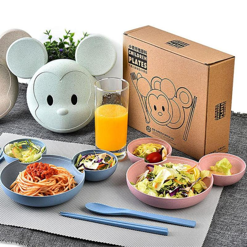 Wheat Fiber Kids Dinner Plate Mickey Tableware Set Cartoon Suit Bowl/Lid/Chop Sticks/Soup Ladle/Fork Exquisite Gift Tableware A2
