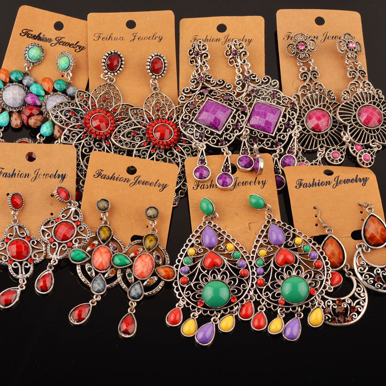 20 Pairs Mixed Lots Wholesale Women Bohemian Ethnic Long Drop Earrings Mixed Style Flower Waterdrop Carved