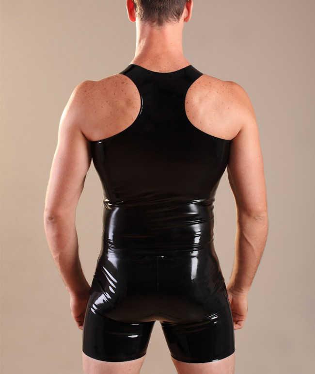 Черный латексный жилет на молнии для мужчин латексная резиновая рубашка латекс Костюмные Топы