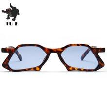 FU E 2018 Polígono Retro olho de gato Óculos De Sol Das Mulheres Irregular  Dobra Rosa Quadro Lente Azul homens da Marca do Desen. 0e532c2205