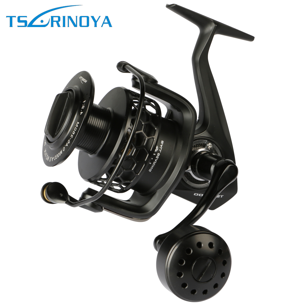 Trulinoya Full Metal Sea Boat Long Casting Fishing Reel TSP 7000 Spinning Reel 7+1BB 4.9:1 Max Drag 20kg For Jigging & Trolling tsurinoya tsp3000 spinning fishing reel 11 1bb 5 2 1 full metal max drag 8kg jig ocean boat lure reels carretes pesca molinete