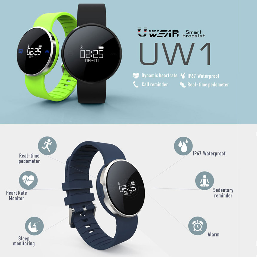 UW1 Bluetooth 4 0 Sport Smart Watch Bracelet Heart Rate Calls SMS Remind IP67 Pedometer for