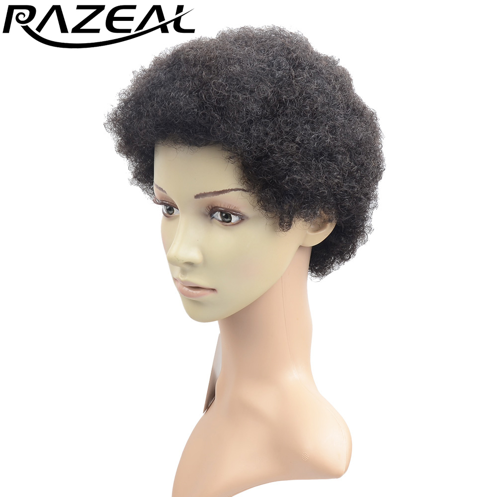 Razeal Products Black Brown Short Afro Wigs 2inch Afro Kinky Curly Synthetic Hair Natural Wig Pruiken In Synthetic None Lace Wigs From Hair Extensions