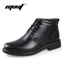 Plus Size men boots super warm genuine natural leather snow boots Handmade ankle boots for autumn and winter shoes
