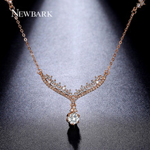 NEWBARK Angel Wing Necklaces & Pendants Rose Gold Plated With Charm AAA Cubic Zirconia Paved Women Jewelry Collares Gift