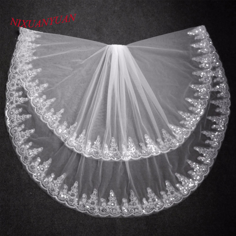2018 Fashion Two Layer Bridal Veil White Ivory Tulle Wedding Veil With Comb Lace Edge Wedding Accessories Bridal Veils In Stock
