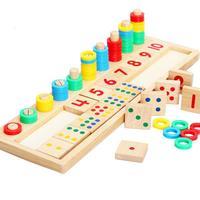 Holz Zahlen/Dots Ziegel + Ringe Kinder Mathematik Lernen Spielzeug Pädagogisches Zahlen Zählen Addition und Subtraktion Preshool Mathematik Spielzeug