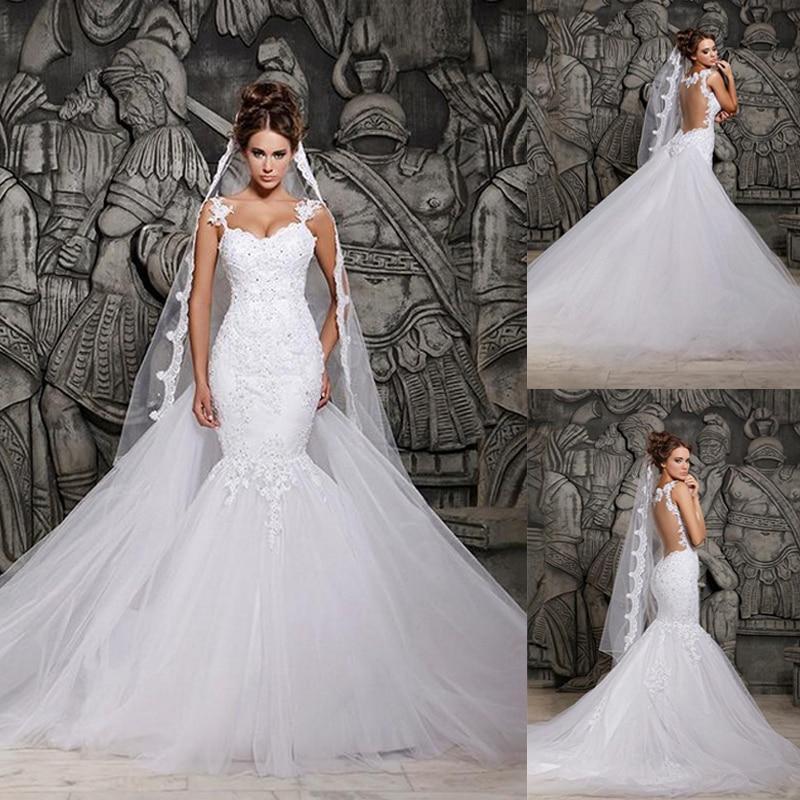 Vintage Wedding Dresses Philadelphia: 2015 New White Ivory Lace See Through Mermaid Wedding