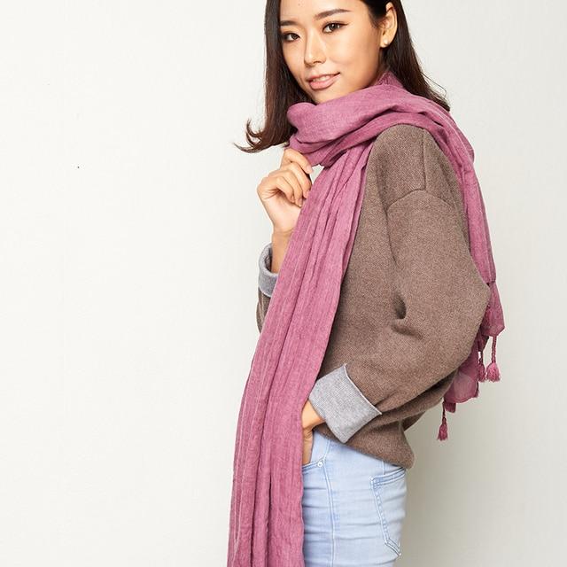 Winter Shawls and Scarves Cape Plain Warm Scarf Luxury Brand Soft Scarves Female Tassel Women High Quality Scarf  W6003