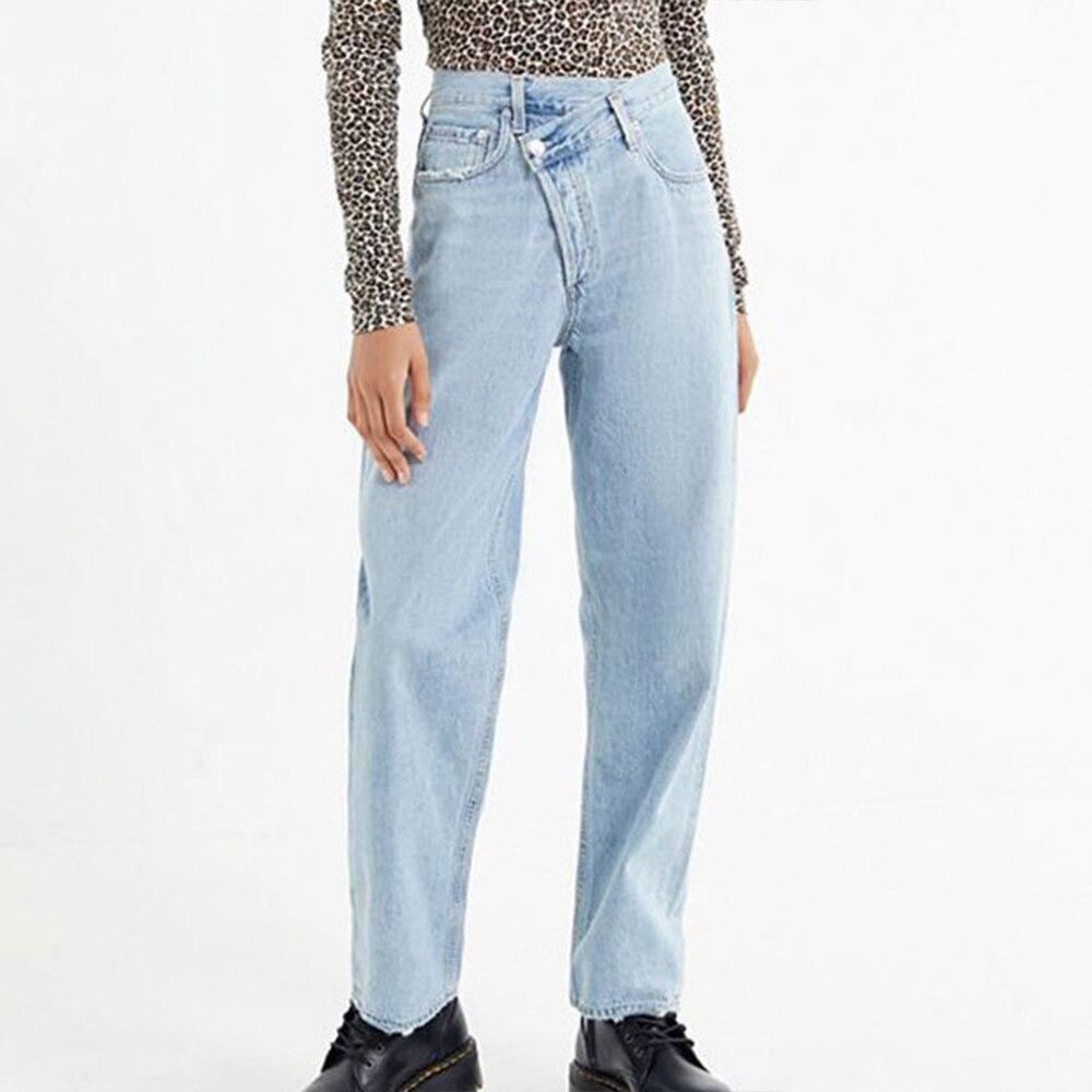 New Wide Leg Irregularity Waist Women Jeans Zipper Fly Straight Slim Jeans Femme Casual Denim Jeans Loose Plus Size Ladies Jeans