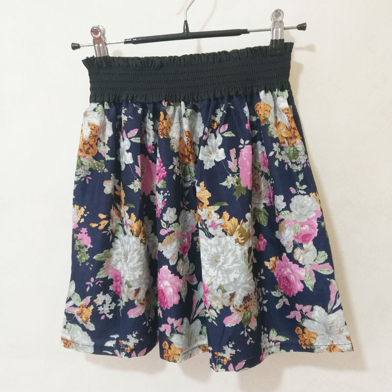 Fashion Pleated Retro High Waist Summer floral plaid Short Mini Skirts 24