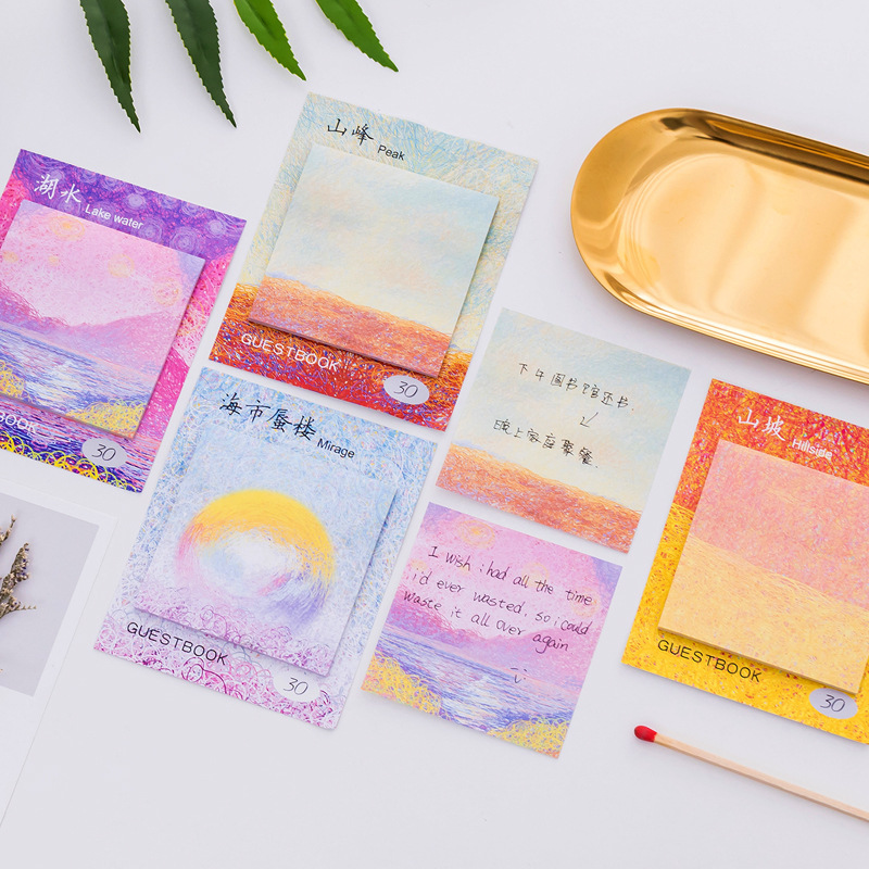 JUKUAI 1Pcs/Lot Oil Painting Sticky Note Color Canavas Memo Pad Guestbook Mirage Peak Lake Post It Stationery Supplies 8008