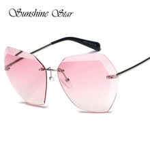 Sunshine Star New Fashion Rimless Pink Sunglasses Women Brand Designer Clear Brown Unique Eyewear Oculos Gafas de sol 400UV