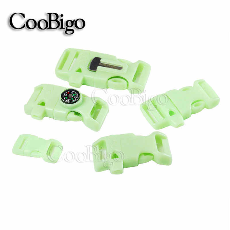 "Curved & Flat 3/8"" 5/8"" 3/4"" Side Release Buckle Whistle Glow In the Dark Parachute Cord 550 Paracord Bracelet Backpck Bag Parts"