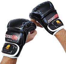 1 Pair PU Leather Half Finger Fitness Boxing Fighting font b Gloves b font Cartoon Falcon