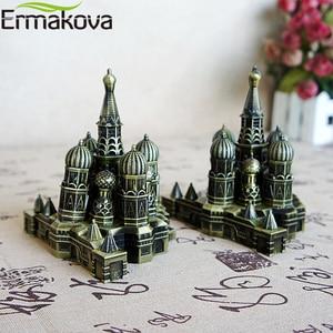 Image 4 - ERMAKOVA Ретро Бронзовая Металлическая статуэтка Кремля статуя модель здания для гостиной винтажный Домашний Настольный Декор подарок
