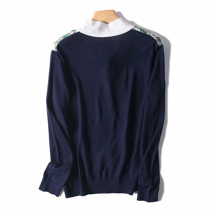 White Laine Gros M Tencel shirt Mélange Spliced Patchwork En l Mode Papillon Noeud Blue Détail Soie Imprimé T Tricot Dk Femmes De HBSwq