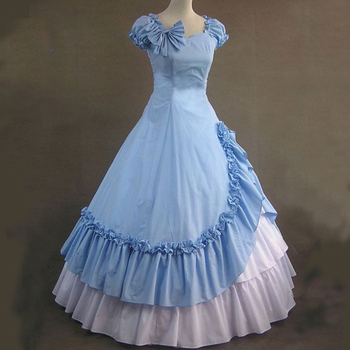 free shipping Halloween costume Blue Gothic Lolita long dress skirt cake palace dress to  send pannier Lolita cosplay costume