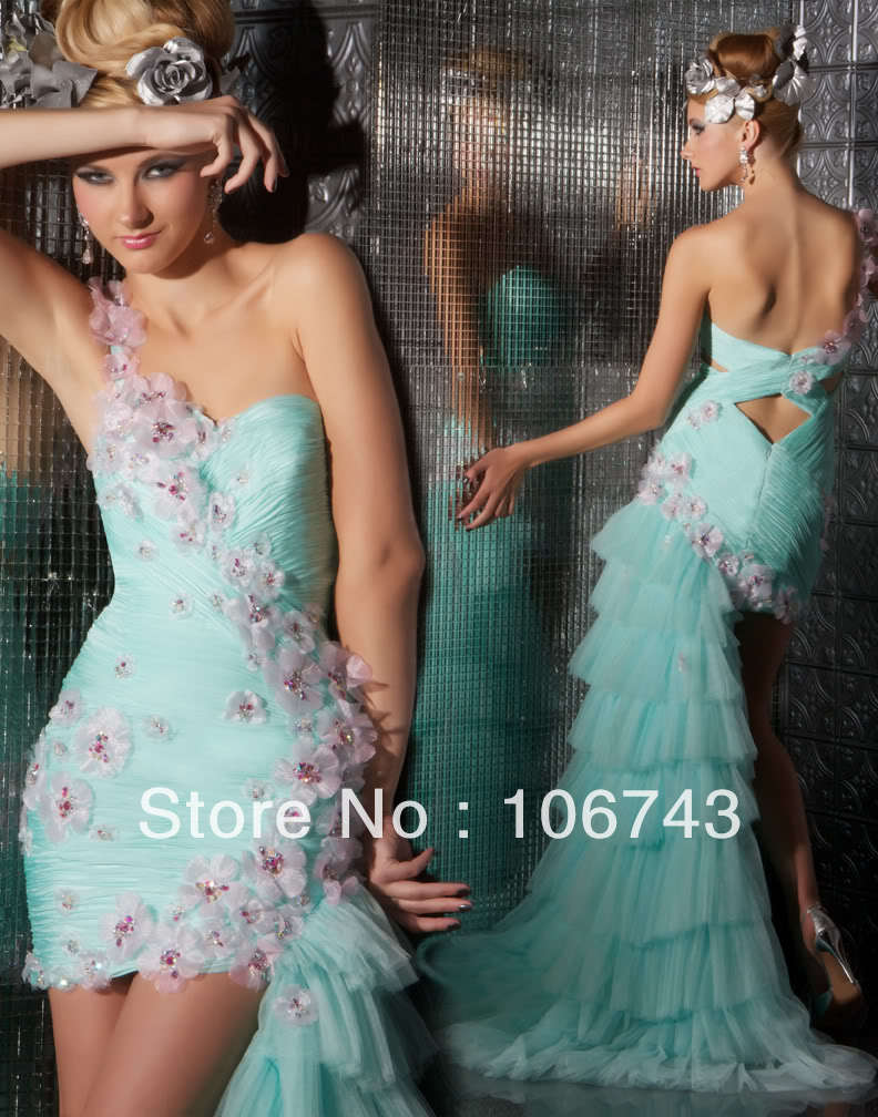 2016 hot Sale free Shipping New Style Best Sale Sexy Bride one shoulder Custom Size Above Knee, Mini handmade Flowers   Prom     Dress