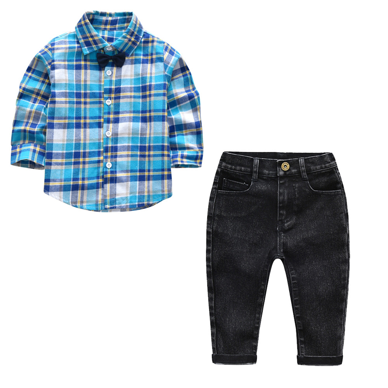 2b36727b2137 Toddler Clothing Set For Boys Girls Clothes Fashion Blue Plaid ...