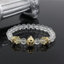 8MM White Matte Stone Bead Male Bracelet Gold-Color Helmet Spartan Gladiator Charm Elastic Bracelet Men Pulseira Masculina(China)
