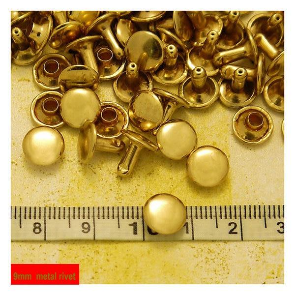 9mm Metal Rivets, Ball Cap Double Headed  Light Gold Plated Metal Rivets9mm Metal Rivets, Ball Cap Double Headed  Light Gold Plated Metal Rivets