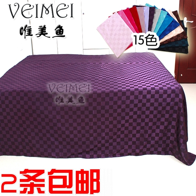 Aesthetic fish ch31 large plaid bed sheet silk on silk bed single double plus size solid color silks and satins laguan