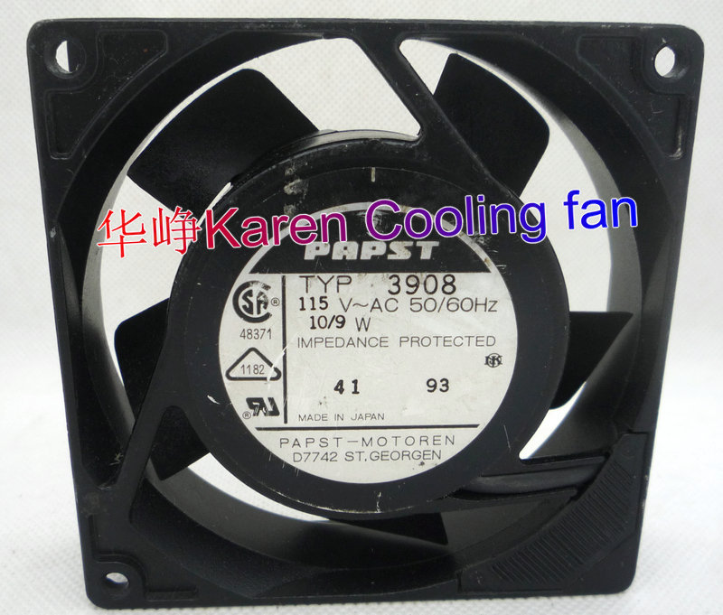 PAPST 9CM 92*92*25MM  9225 115V TYP3906 TYP3908  Cooling fan 3906 3908 1600w 92