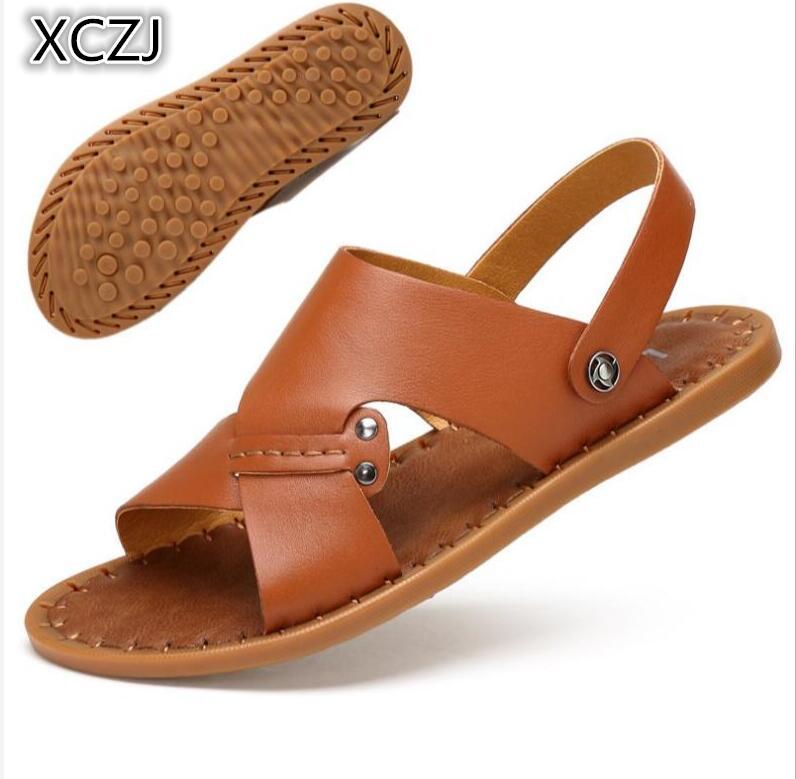 XCZJ 2018 new summer non-slip sandals men tendon bottom leather beach shoes mens casual soft bottom mens sandals
