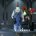 Весна 2017 девушки ноги отверстие, чтобы сделать старый версия супер-Западный стиль джинсовой ремешок юбка