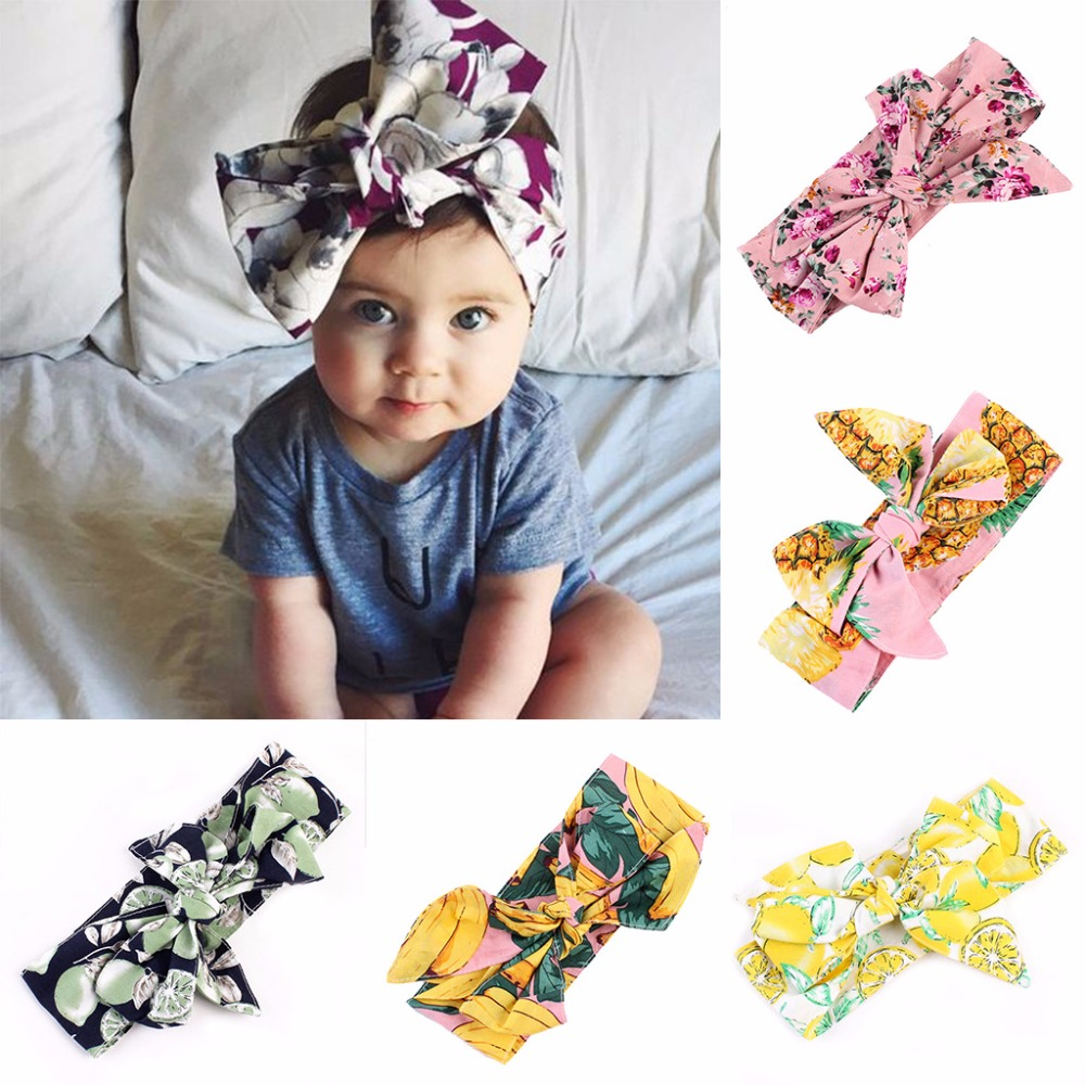 Newborn Baby Kids Girls Infant Rabbit Bow Hairband Headband Headwear Turban Knot